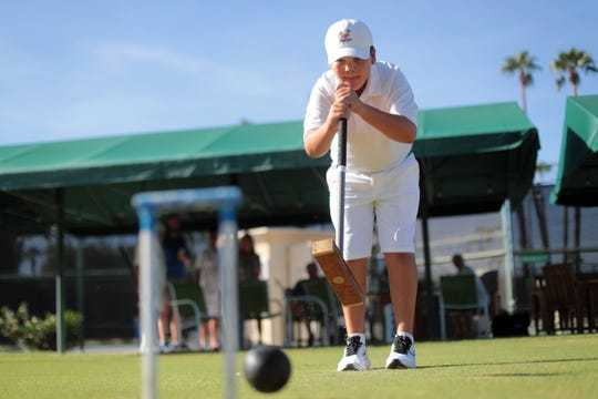 Blake Fields an 11-year-old Croquet prodigy hits balls on his home turf at Mission Hills Country Club in Rancho Mirage on Thursday, September 27, 2018.