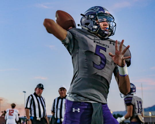 Jacob Luna during the warm up. The Shadow Hills varsity football team lost Friday's home conference game against Palm Desert (CA) by a score of 26-14.