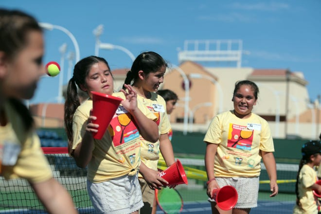 Third and fourth graders from the Coachella Valley Unified School District Expanded Program attend Rosie Casals & Pancho Gonzalez Kids Tennis Fiesta at the Indian Wells Tennis Garden on Saturday, September 29, 2018 in Indian Wells.
