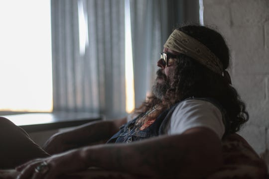 Brant Bjork sits with a view of the desert at his home studio in Twentynine Palms on Wednesday, September 26, 2018.