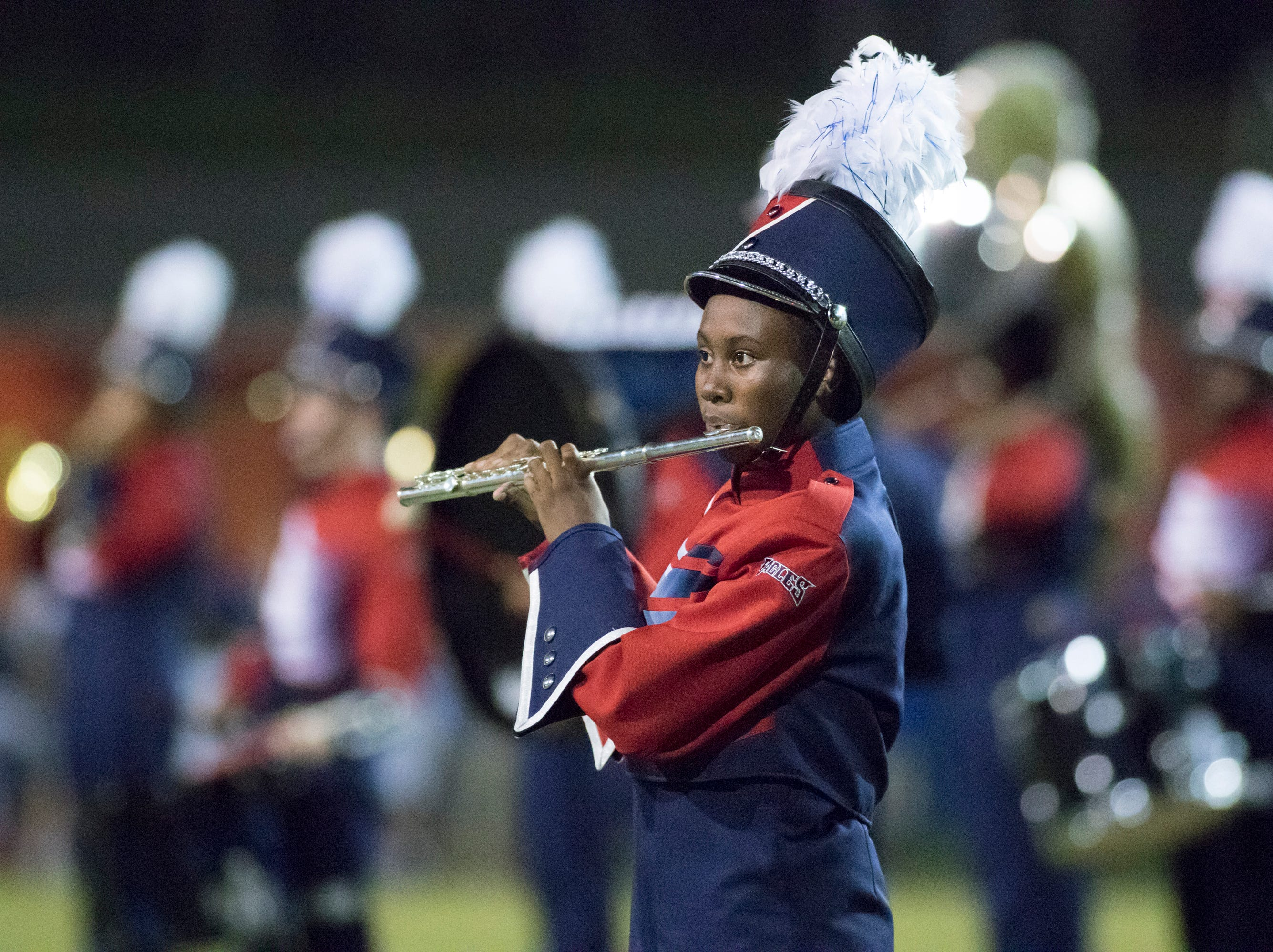 The Eagles marching band performs during halftime of the Pine Forest vs Escambia football game at Escambia High School in Pensacola on Friday, September 28, 2018.
