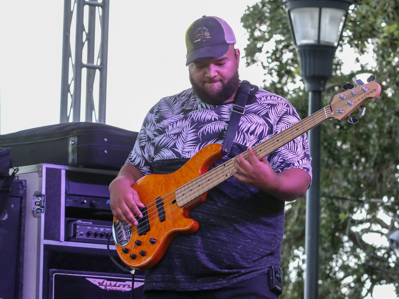 Kenton Bryant performs during the first day of the 41st annual Pensacola Seafood Festival in downtown Pensacola on Friday, September 28, 2018. The festival, which features multiple food vendors, artists, cooking demonstrations, live music and more, is free to enter and continues through Sunday.