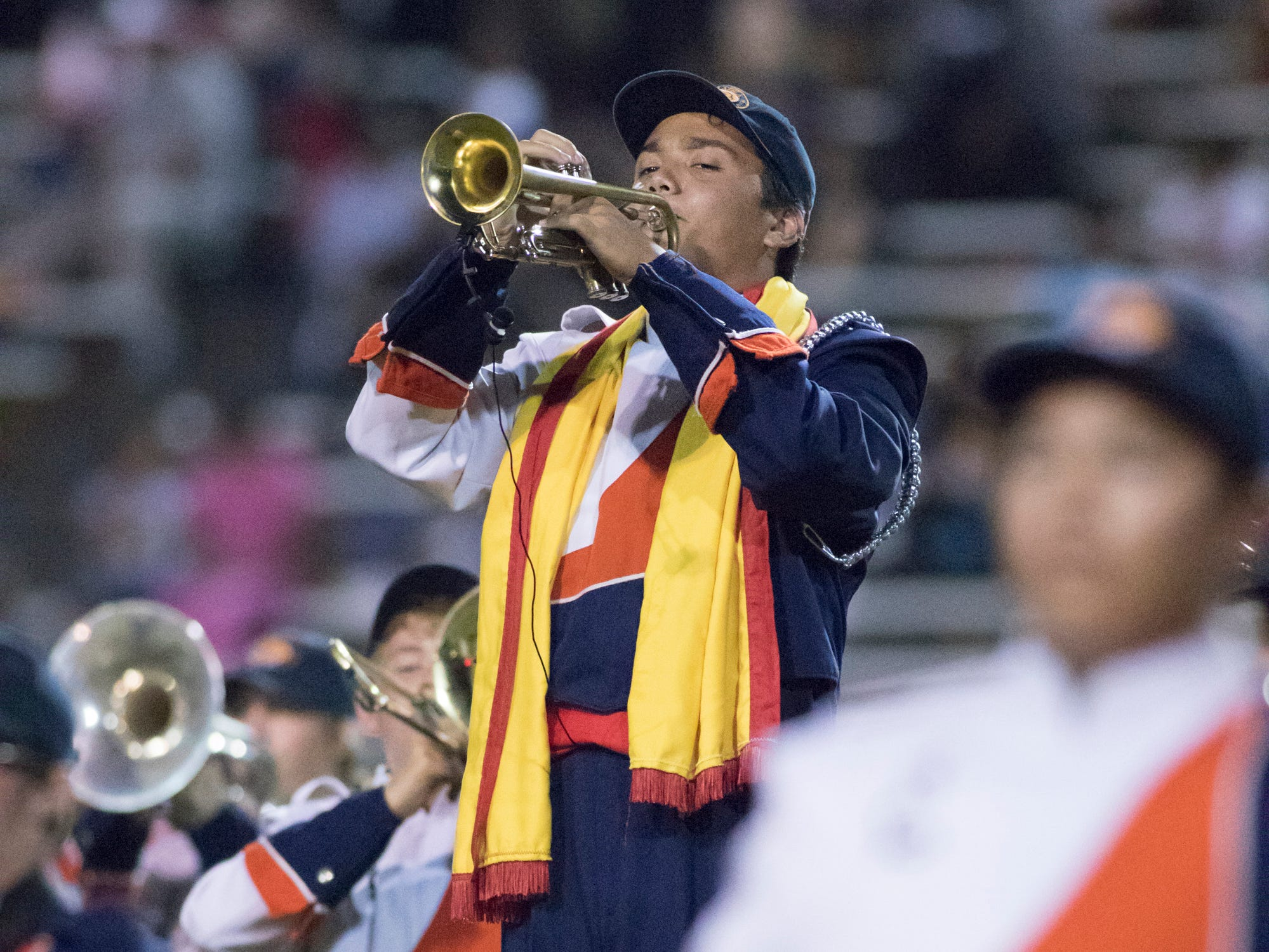 The Gators marching band performs during halftime of the Pine Forest vs Escambia football game at Escambia High School in Pensacola on Friday, September 28, 2018.