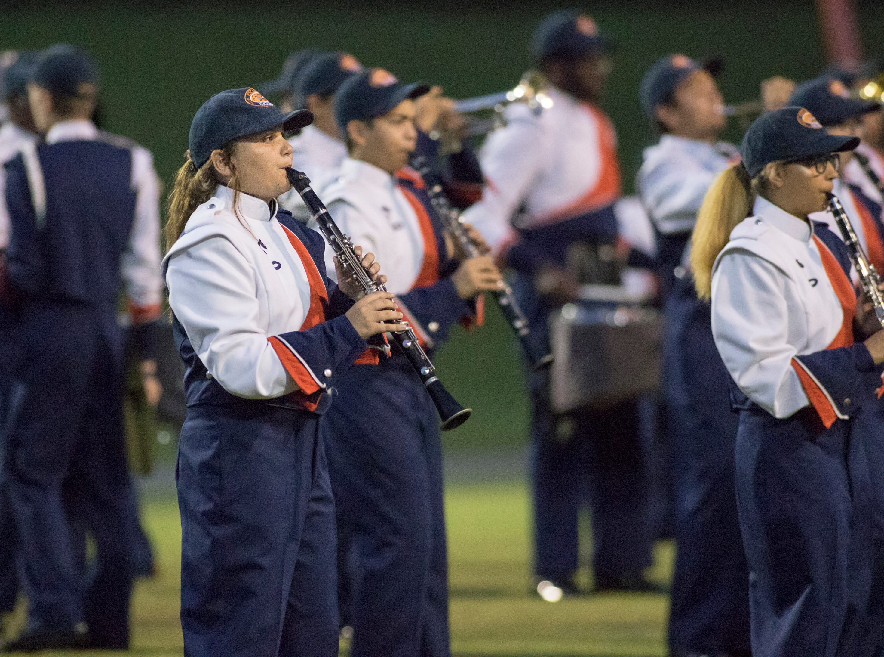 The Gators marching band performs prior to the Pine Forest vs Escambia football game at Escambia High School in Pensacola on Friday, September 28, 2018.