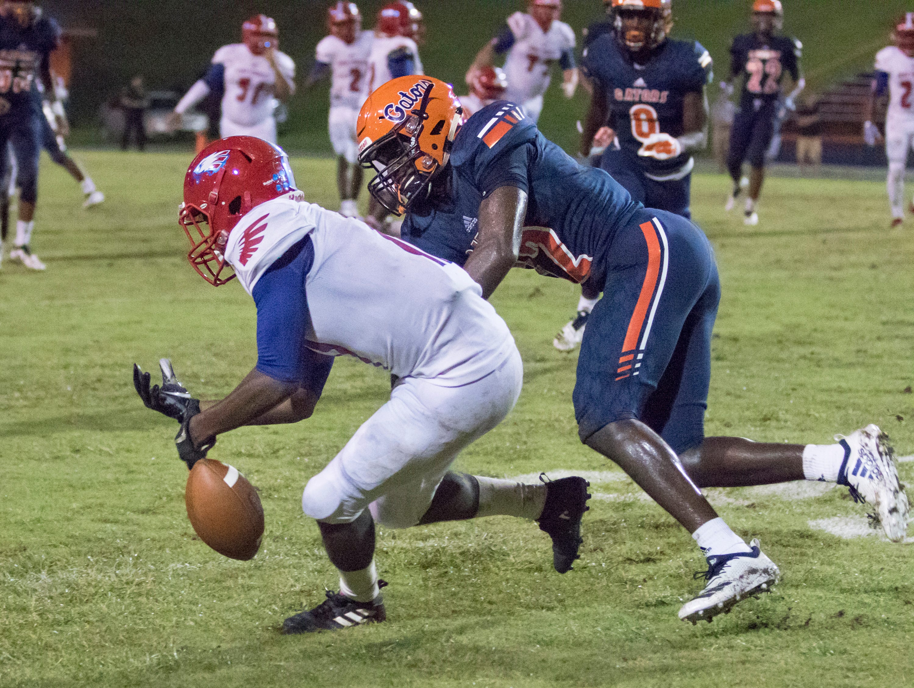 Tray Mason (11) drops a pass during the Pine Forest vs Escambia football game at Escambia High School in Pensacola on Friday, September 28, 2018.