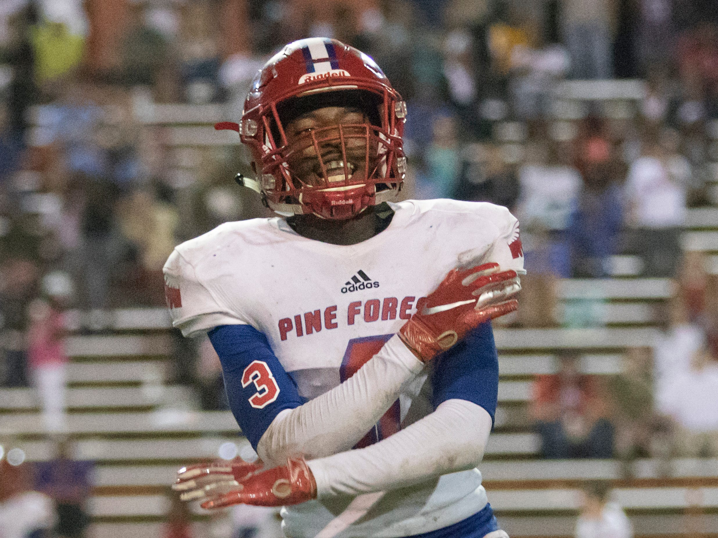 Vonquarius Brown (6) taunts the Gators sideline after the Eagles hold on 4th down and get the ball during the Pine Forest vs Escambia football game at Escambia High School in Pensacola on Friday, September 28, 2018.