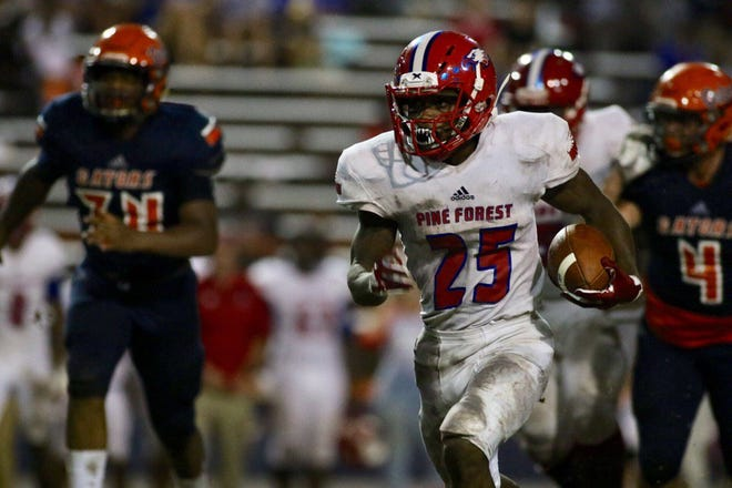 Action from Friday night's game between Pine Forest High and Escambia High at Escambia's Emmitt Smith Field. (Sept. 28, 2018)