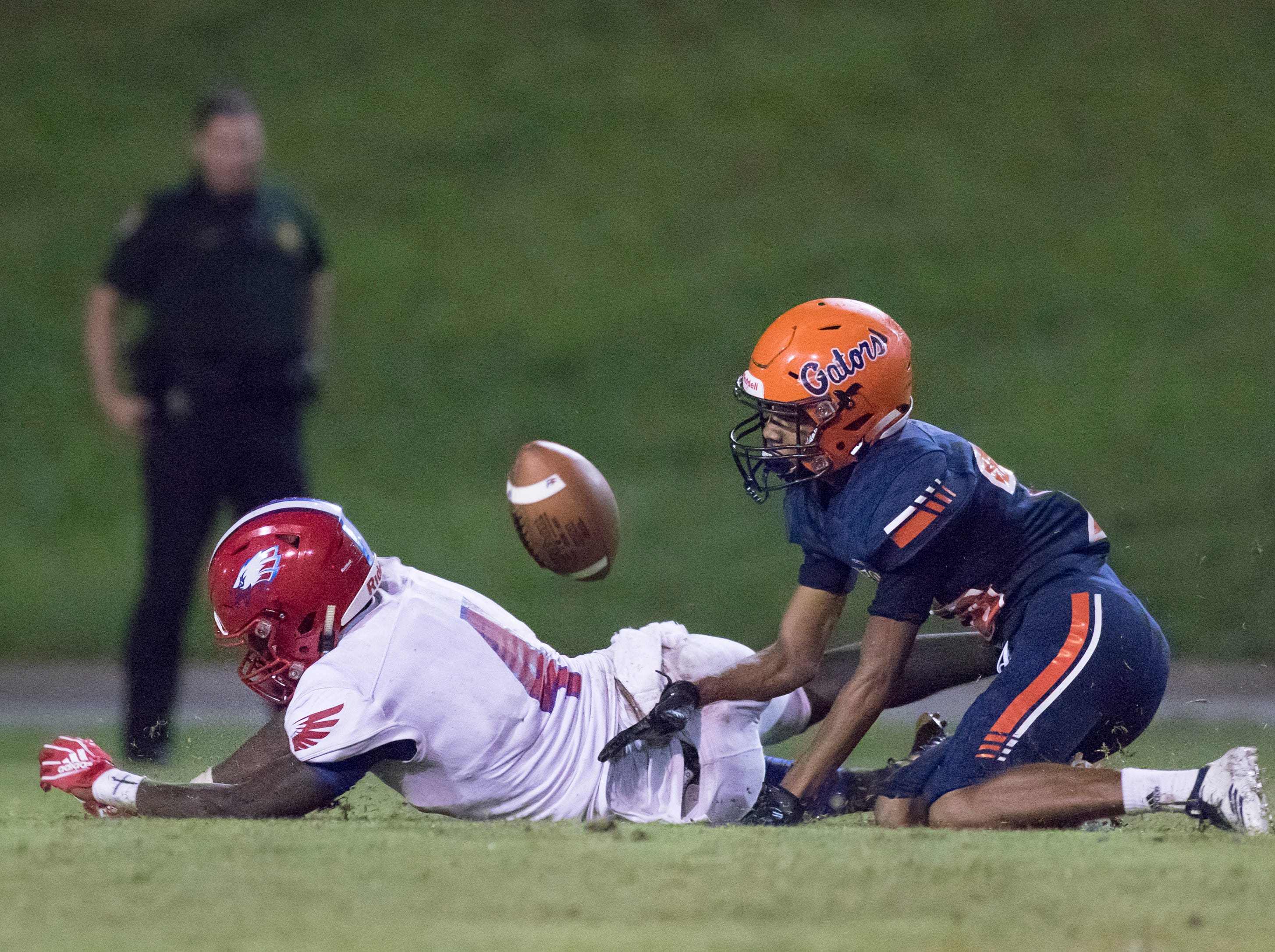 Vontarious Hill (4) can't reel in a pass during the Pine Forest vs Escambia football game at Escambia High School in Pensacola on Friday, September 28, 2018.