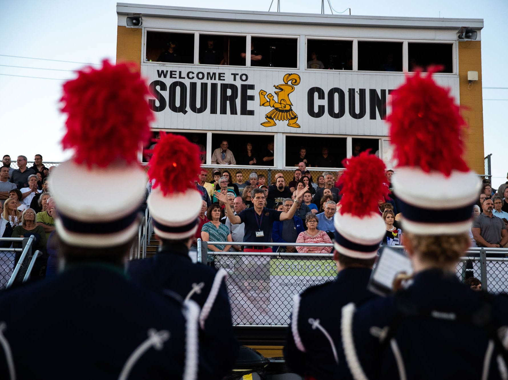 The Delone Catholic band performs before a football game between Delone Catholic and Biglerville, Friday, Sept. 28, 2018, in McSherrystown. Delone led Biglerville 35-0 at the half.