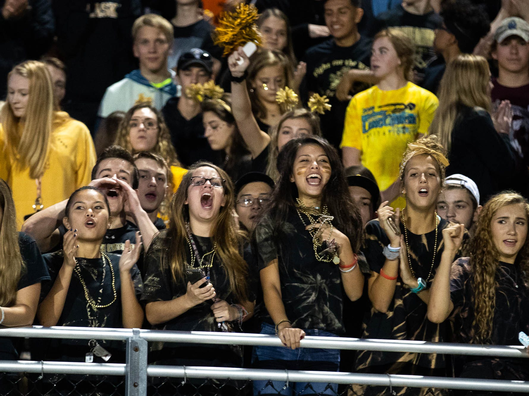 The Delone Catholic student section cheers during the first half of a football game between Delone Catholic and Biglerville, Friday, Sept. 28, 2018, in McSherrystown. Delone led Biglerville 35-0 at the half.