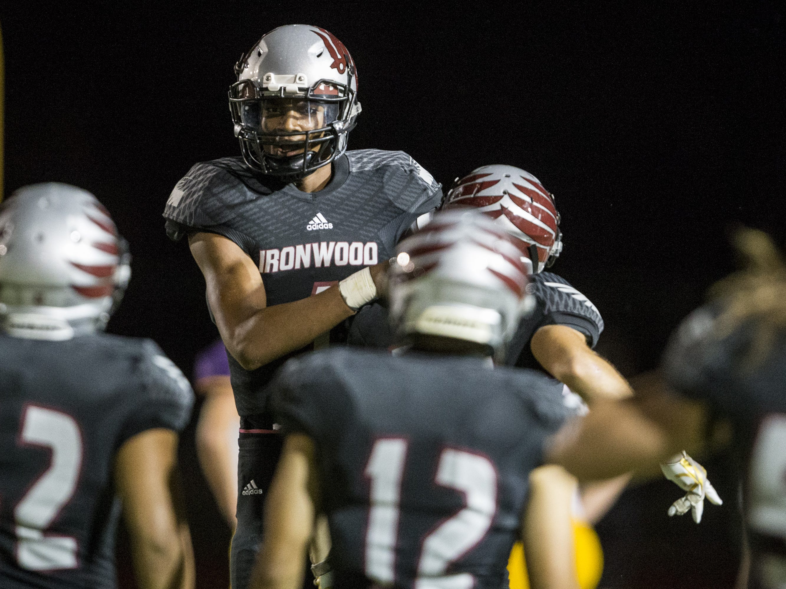 Ironwood's William Haskell celebrates after scoring a touchdown against Sunrise Mountain in the 1st quarter on Friday, Sept. 28, 2018, at Ironwood High School in Glendale, Ariz.  #azhsfb