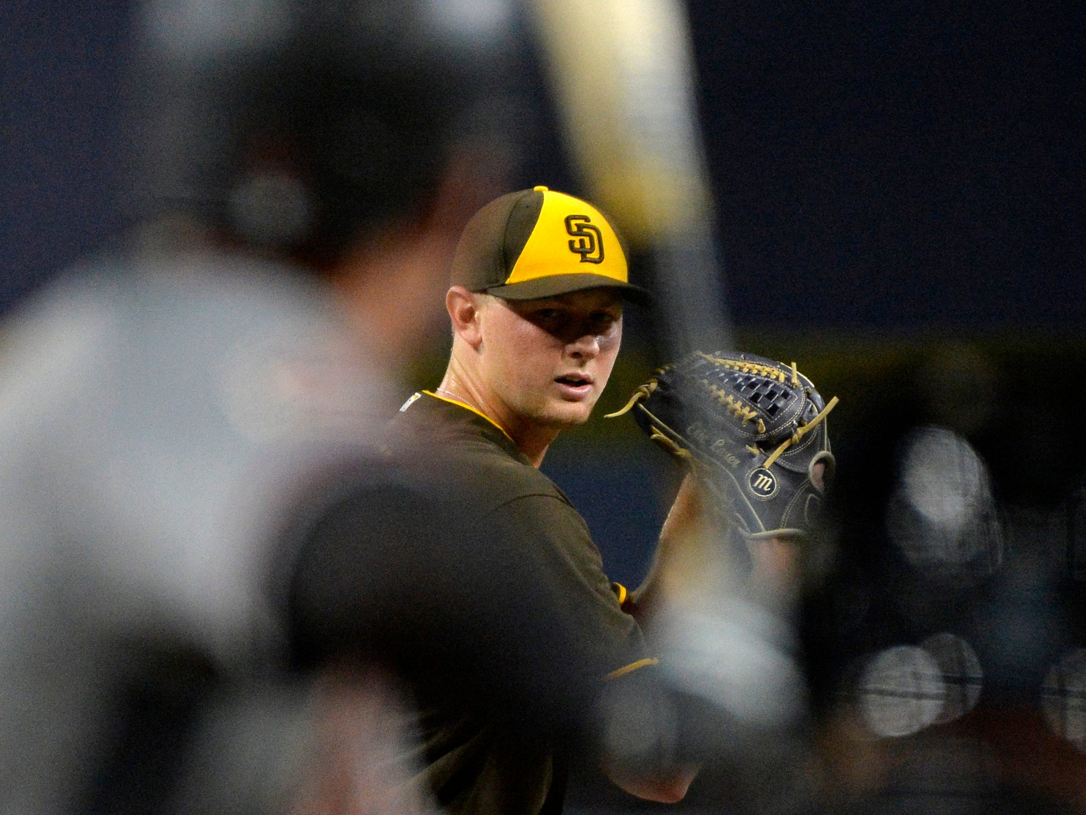 Sep 28, 2018: San Diego Padres starting pitcher Eric Lauer (46) pitches during the first inning against the Arizona Diamondbacks at Petco Park.