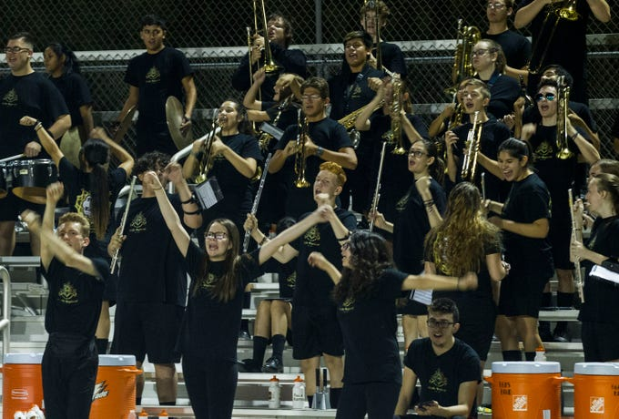 Goldwater band members have a little fun during their game against Millennium's in Goodyear Friday, Sept. 28, 2018. #azhsfb