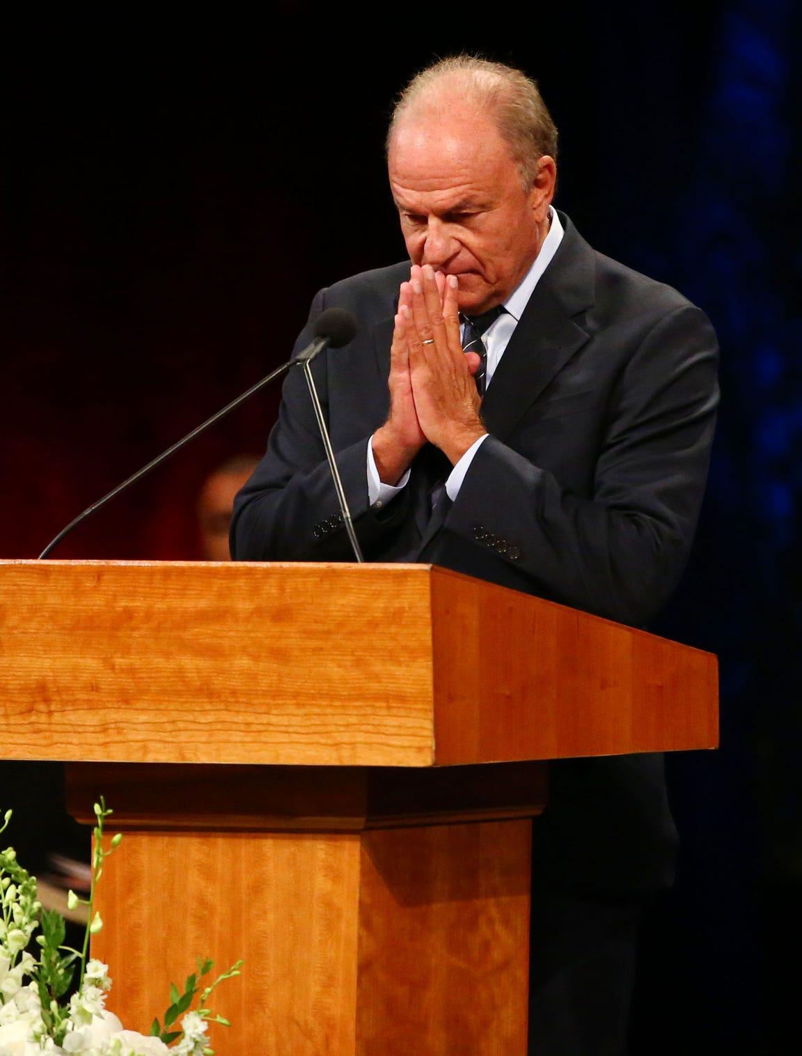 Grant Woods, former Arizona Attorney General, pays tribune to his friend U.S. Senator John McCain during a memorial service at North Phoenix Baptist Church on Aug. 30, 2018.
