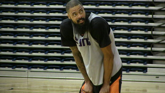 Phoenix Suns center Tyson Chandler looks on near the end of the team's training camp Friday at Northern Arizona University in Flagstaff.