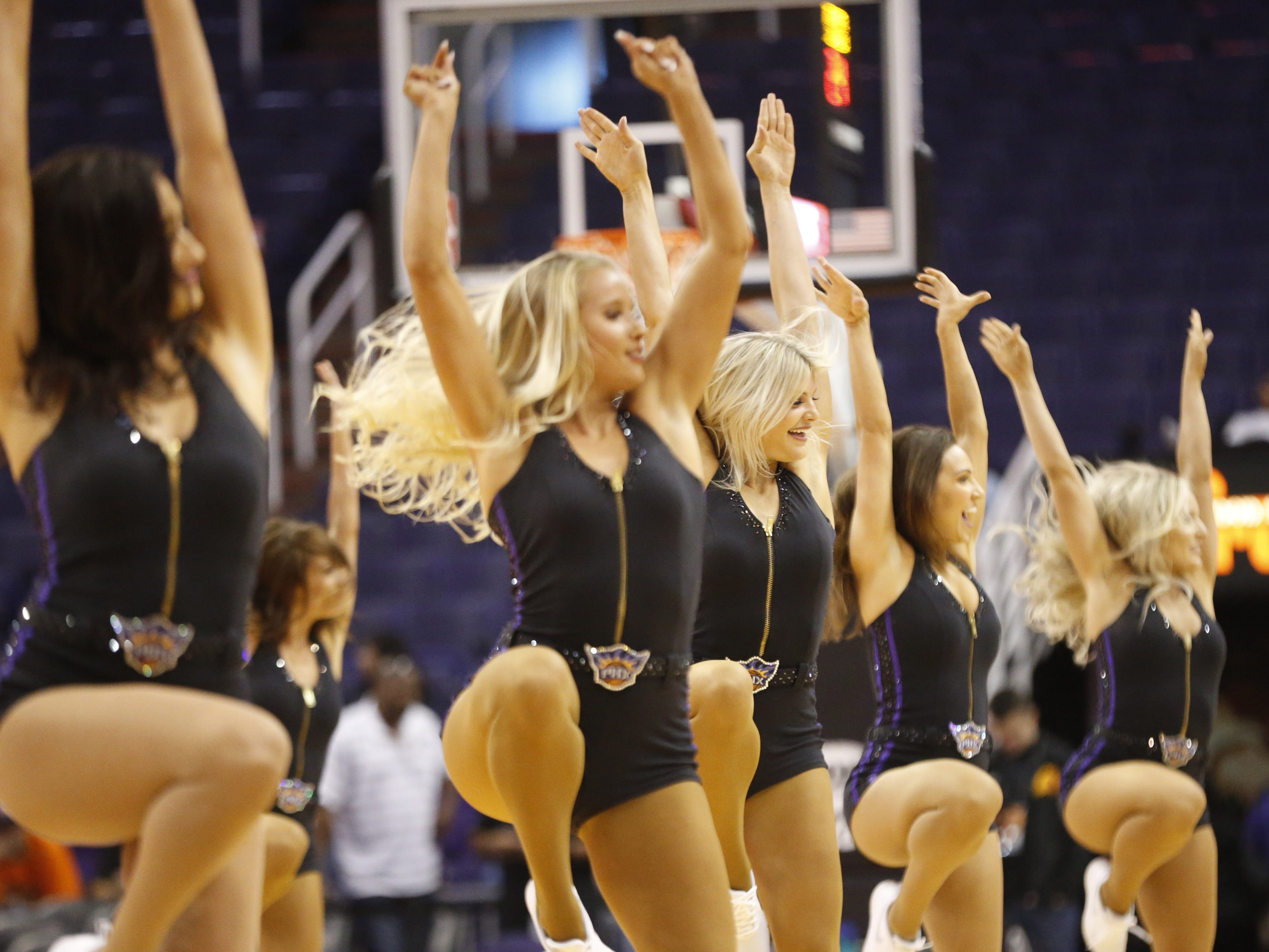 Suns dancers entertain fans during an Open Practice at Talking Stick Resort Arena in Phoenix, Ariz. on Sept. 29, 2018.