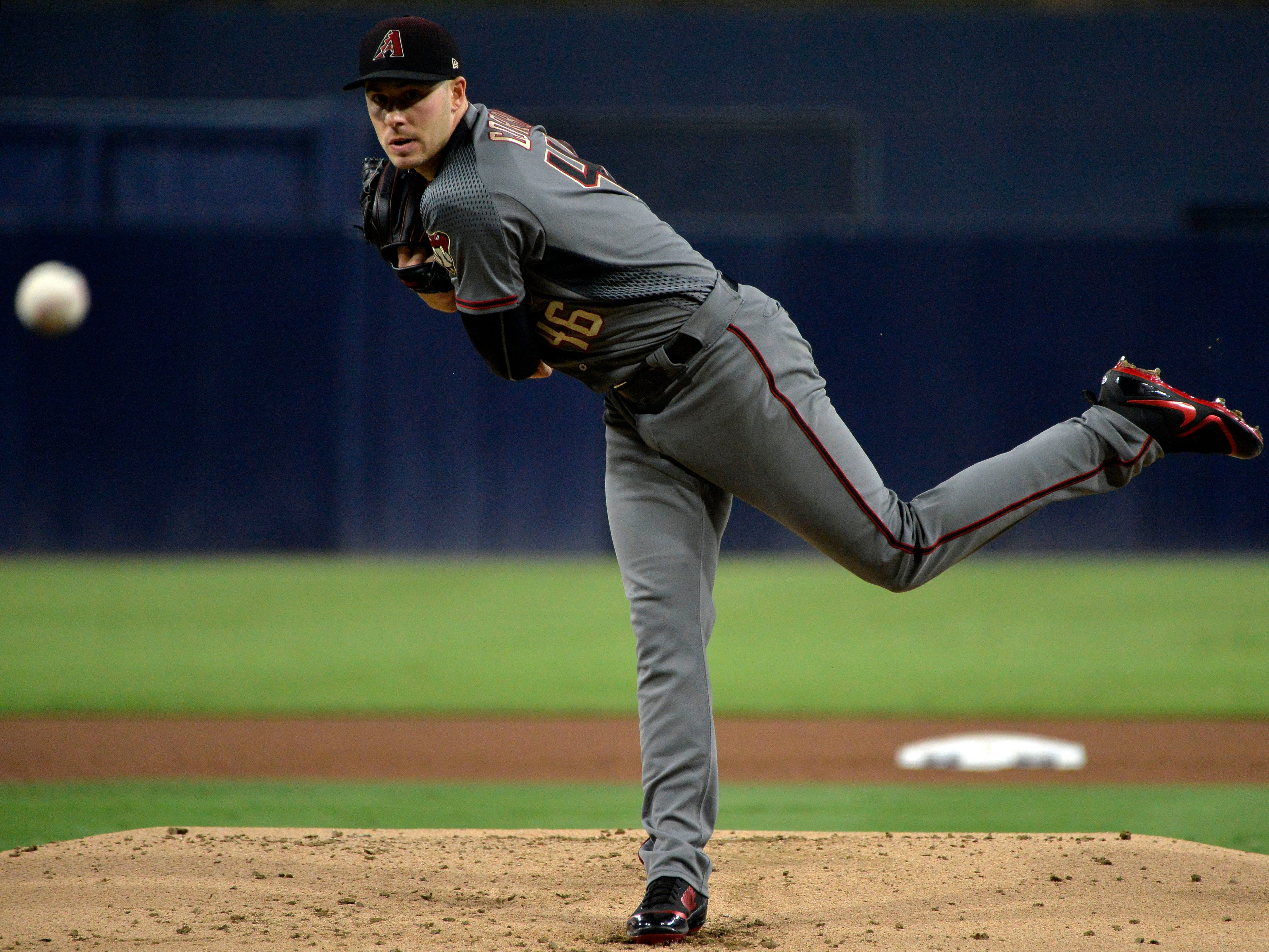 Sep 28, 2018; San Diego, CA, USA; Arizona Diamondbacks starting pitcher Patrick Corbin (46) pitches during the first inning against the San Diego Padres at Petco Park. Mandatory Credit: Jake Roth-USA TODAY Sports