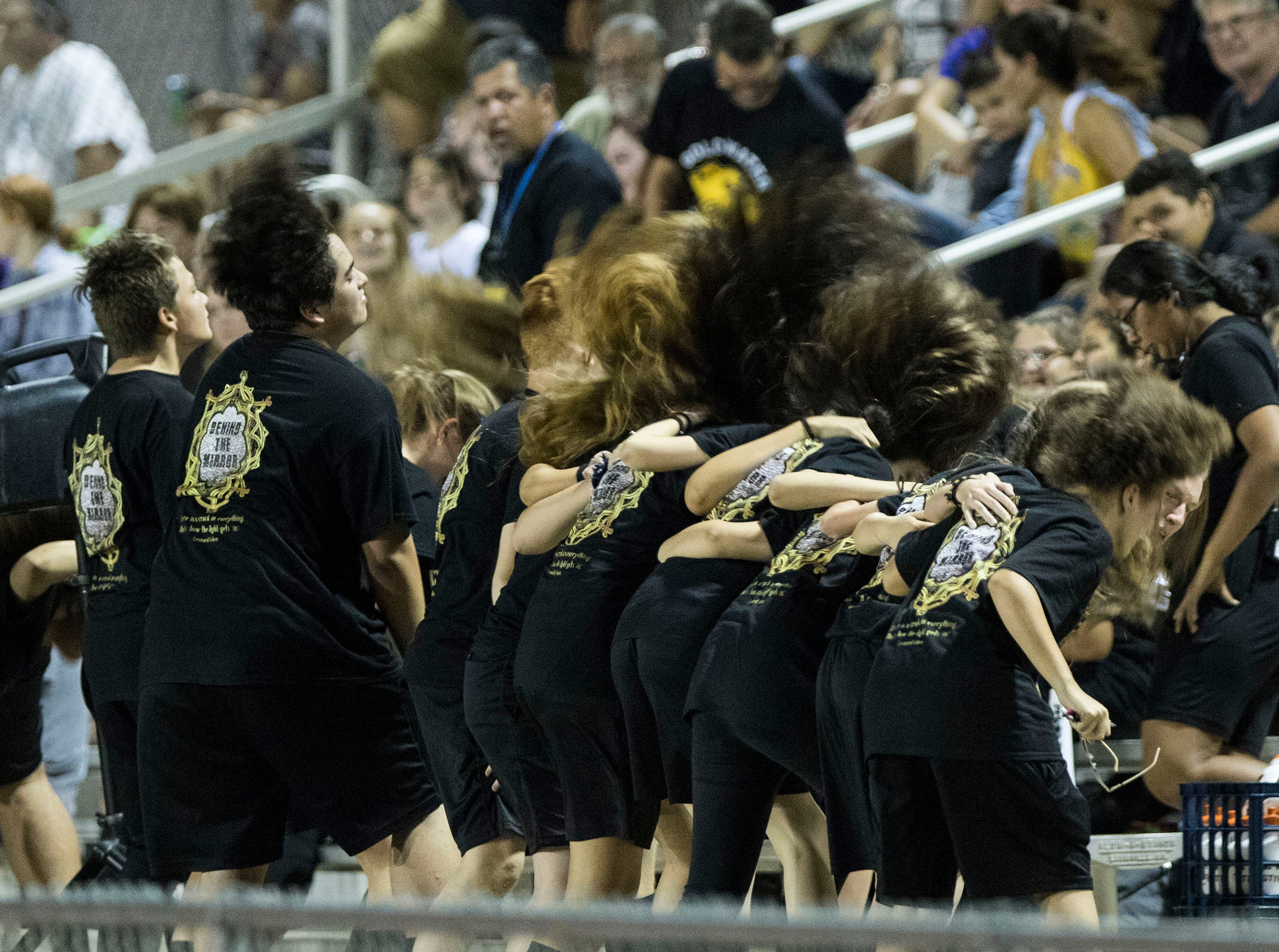 Goldwater band members do some hair-tossing during their game against Millennium's in Goodyear Friday, Sept. 28, 2018. #azhsfb