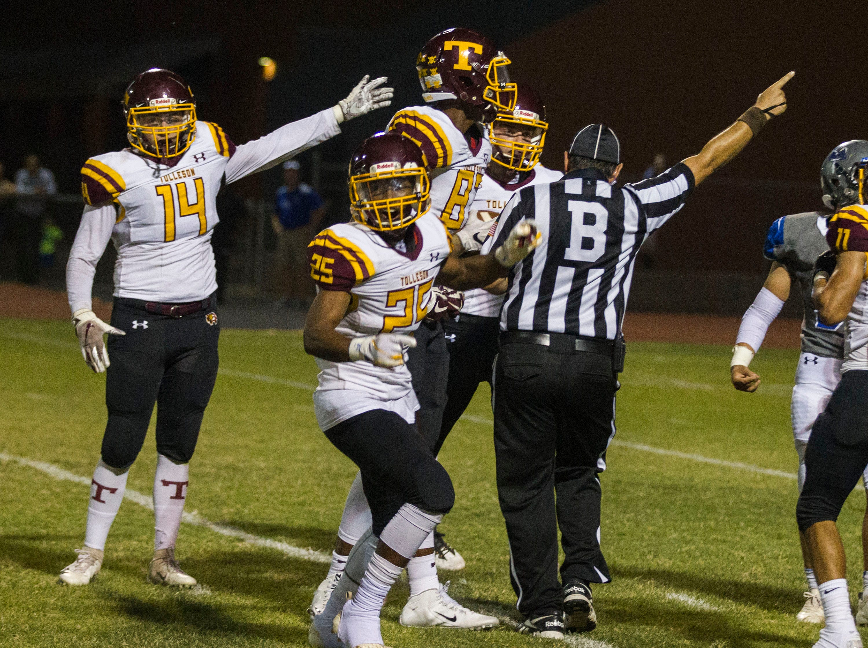 Tolleson players celebrate recovering a fumble during their game with Westview in Avondale Friday, Sept. 28, 2018. #azhsfb