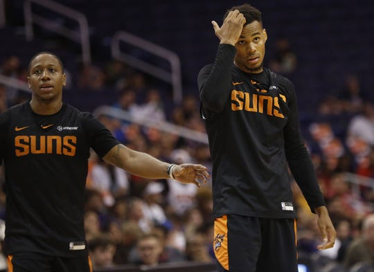 Suns point guard Isaiah Canaan relieves Elie Okobo during Saturday's scrimmage.