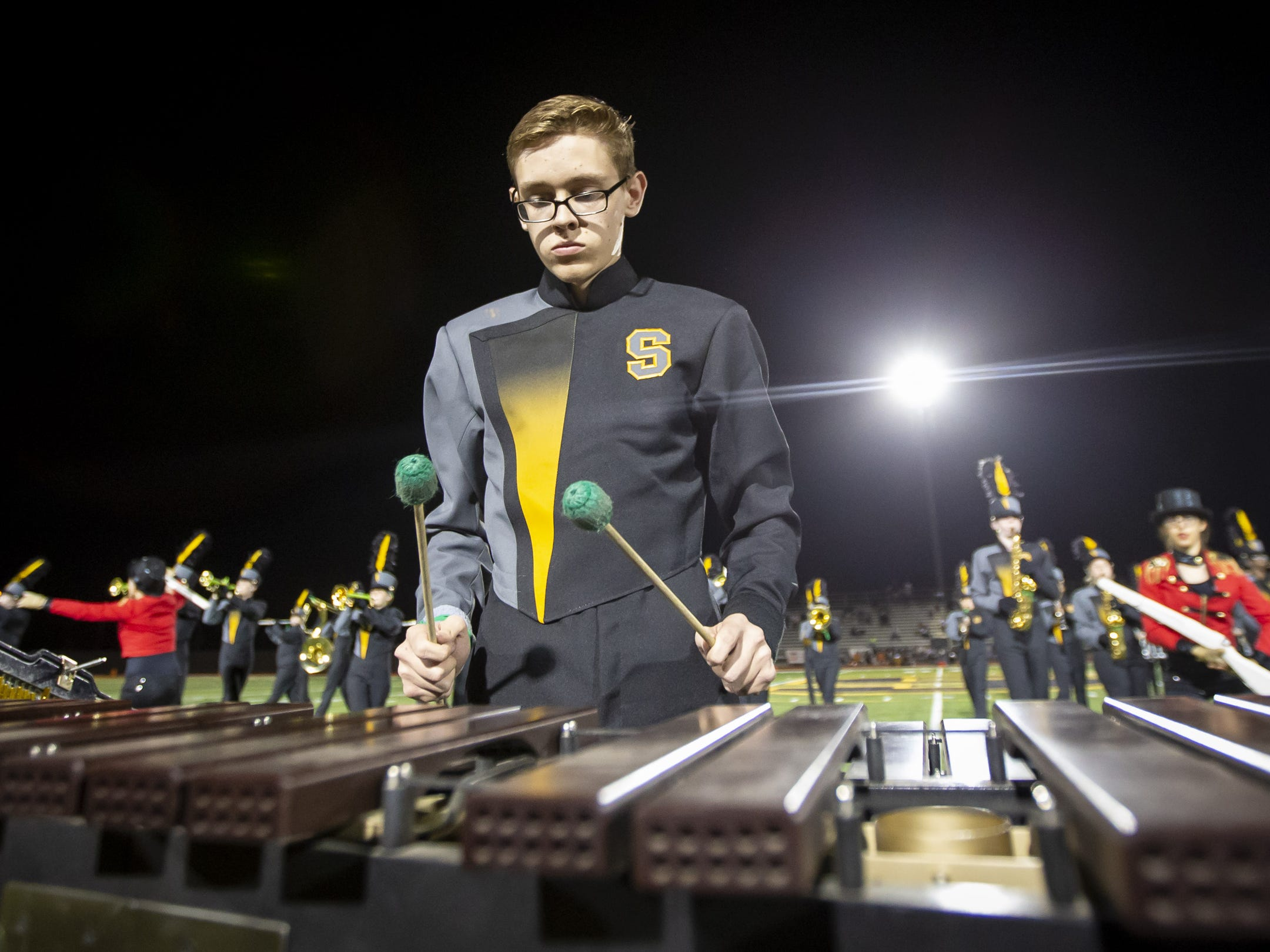 The Saguaro Marching Band performs at halftime during the game against the Desert Edge Scorpions at Saguaro High School on Friday, September 28, 2018 in Scottsdale, Arizona. #azhsfb