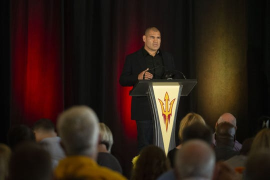 Cain Velasquez (wrestling) is inducted into ASU Athletic Hall of Fame during a luncheon at The Pera Club in Tempe on September 28, 2018.