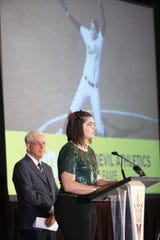 Katie Burkhart (softball) is inducted into ASU Athletic Hall of Fame during a luncheon at The Pera Club in Tempe on September 28, 2018.