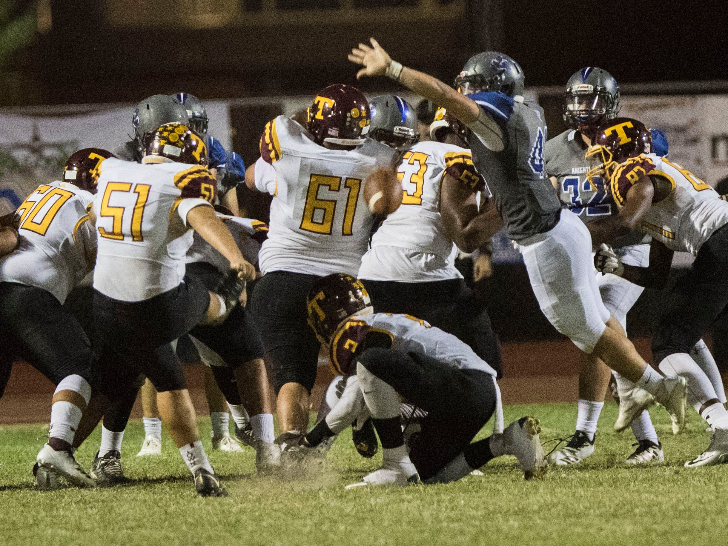 Westview's Jaden Moss attempts to block an field goal but just misses against Tolleson's Jose Deharo during their game in Avondale Friday, Sept. 28, 2018. #azhsfb