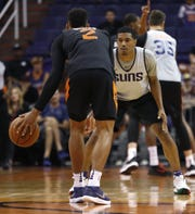 Suns De'Anthony Melton defends Ellie Okobo during an Open Practice at Talking Stick Resort Arena in Phoenix, Ariz. on Sept. 29, 2018.