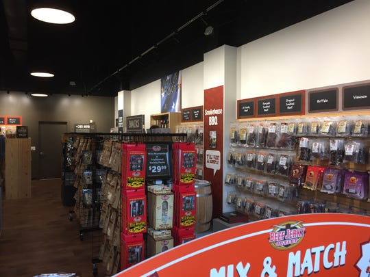 A peek inside the well organized Beef Jerky Outlet, which conveniently separates its products by variety and flavor.
