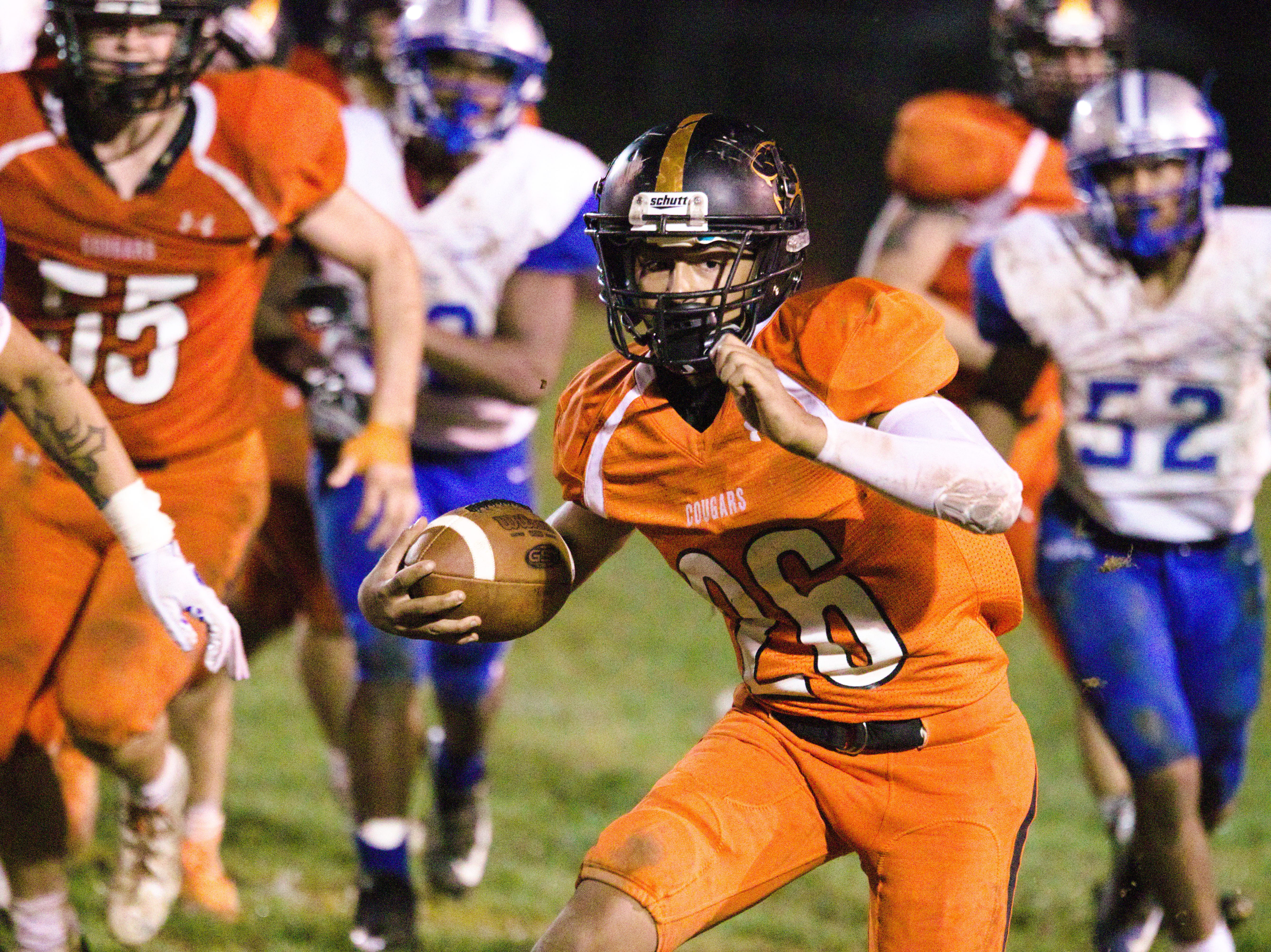 Palmyra's Caleb Hawkins rushed for 198 yards and three TDs in the Cougars' 47-7 win over Boiling Springs.