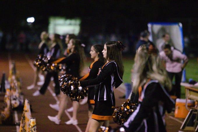 Palmyra cheerleaders in action on Homecoming