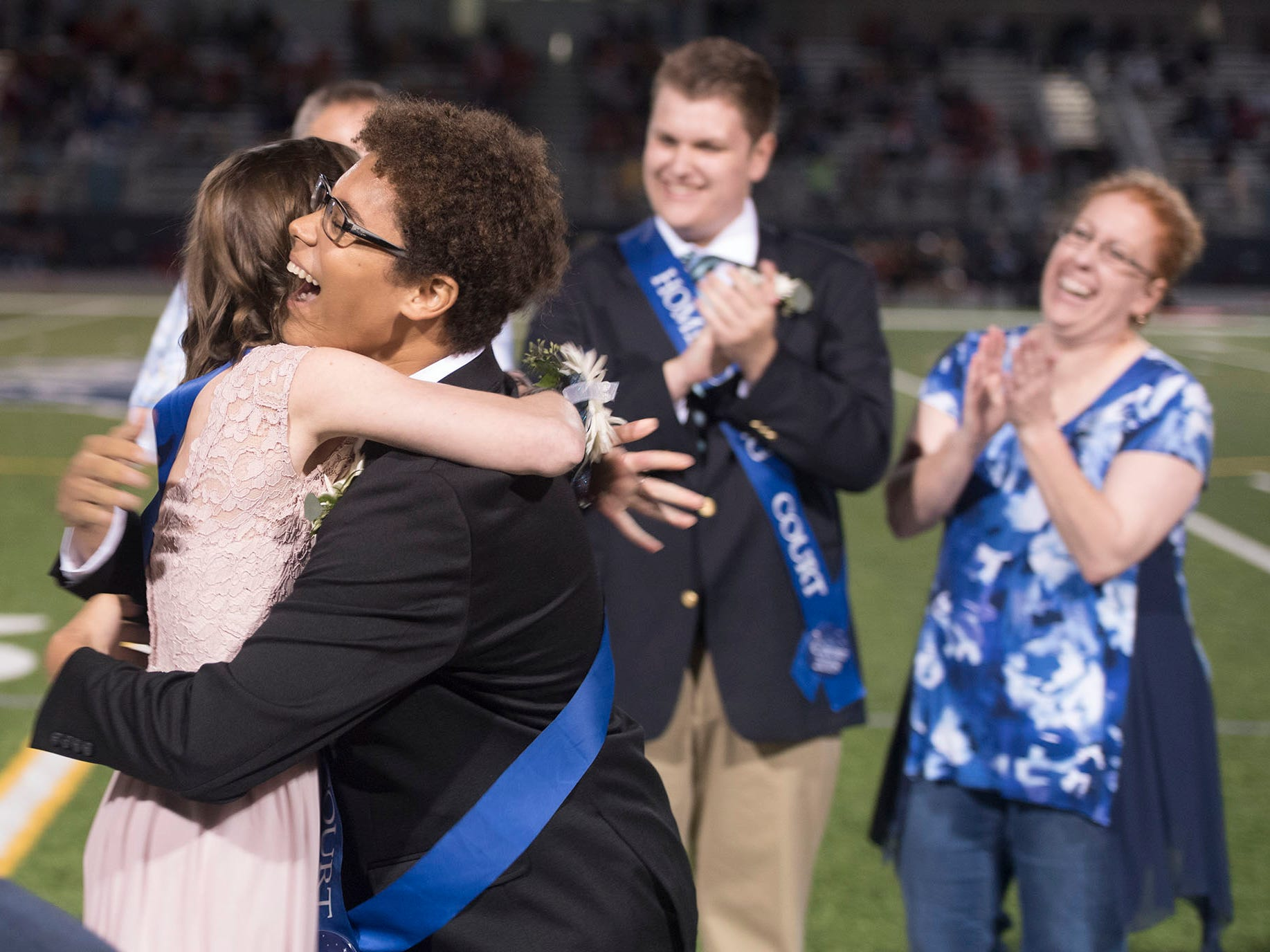 Keith Elijah Thomas and Elise Monheim react to be awarded homecoming king and queen. Chambersburg Trojans are 5-1 after a homecoming victory over Cumberland Valley 28-14 in PIAA football on Friday, Sept. 28, 2018.