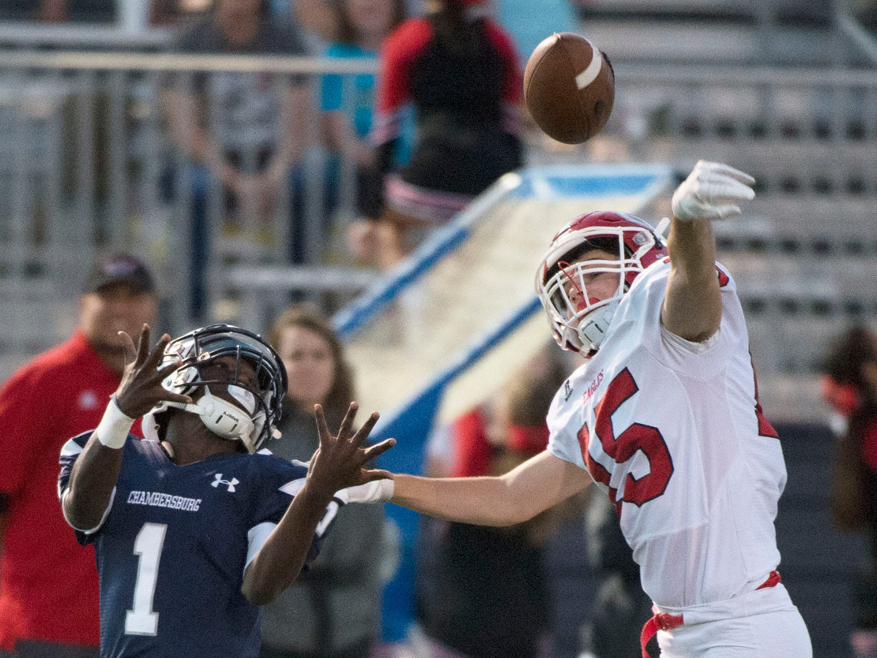CV's Jack Istvan (15) knocks down a pass intended for Chamberburg's Kevin Lee, Jr.  Chambersburg Trojans are 5-1 after a homecoming victory over Cumberland Valley 28-14 in PIAA football on Friday, Sept. 28, 2018.