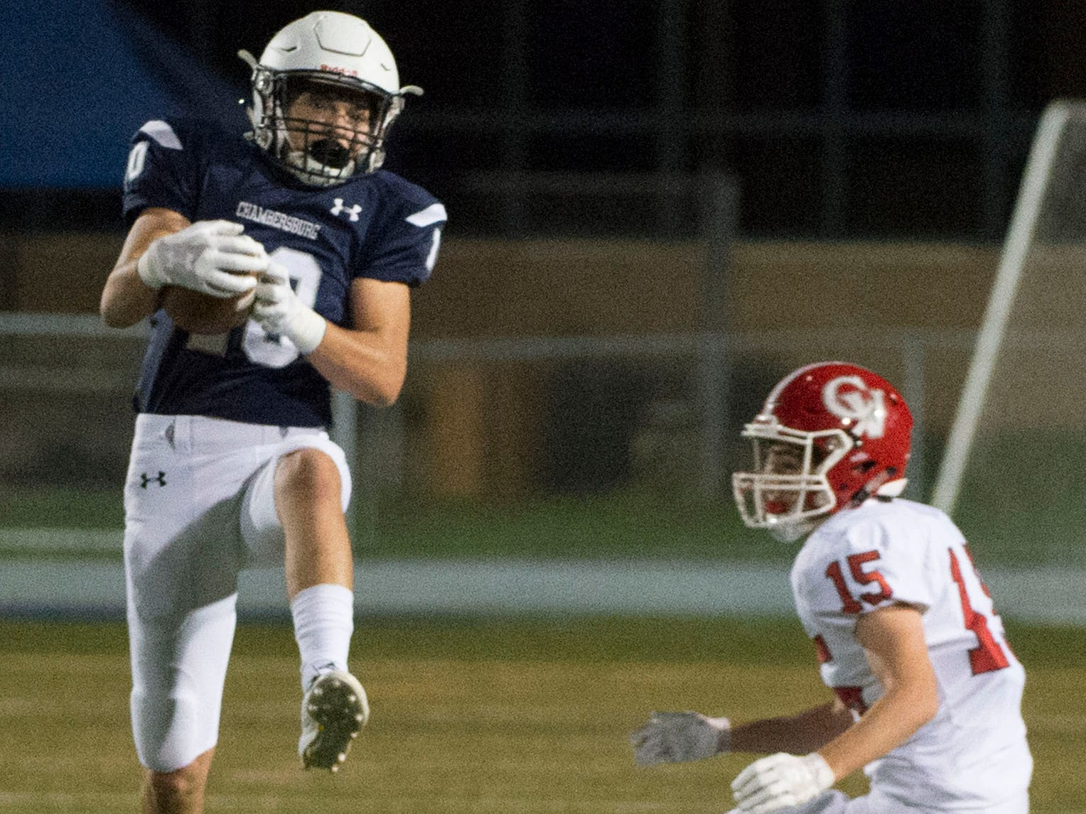 Chambersburg's Brady Hughes catches a pass. Chambersburg Trojans are 5-1 after a homecoming victory over Cumberland Valley 28-14 in PIAA football on Friday, Sept. 28, 2018.