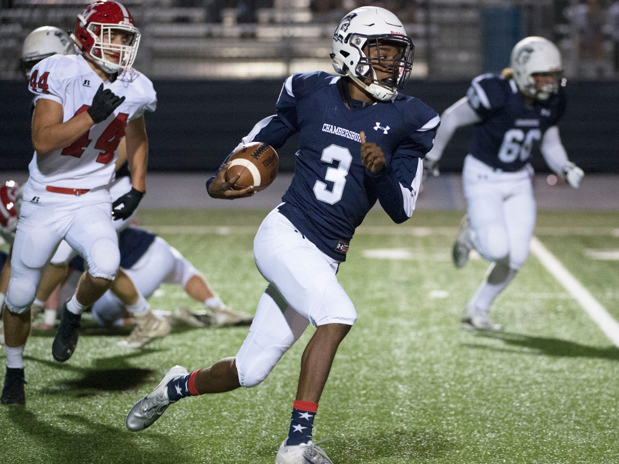 Chambersburg's Tyeshawn Worrell returns a kick for the Trojans. Chambersburg Trojans are 5-1 after a homecoming victory over Cumberland Valley 28-14 in PIAA football on Friday, Sept. 28, 2018.