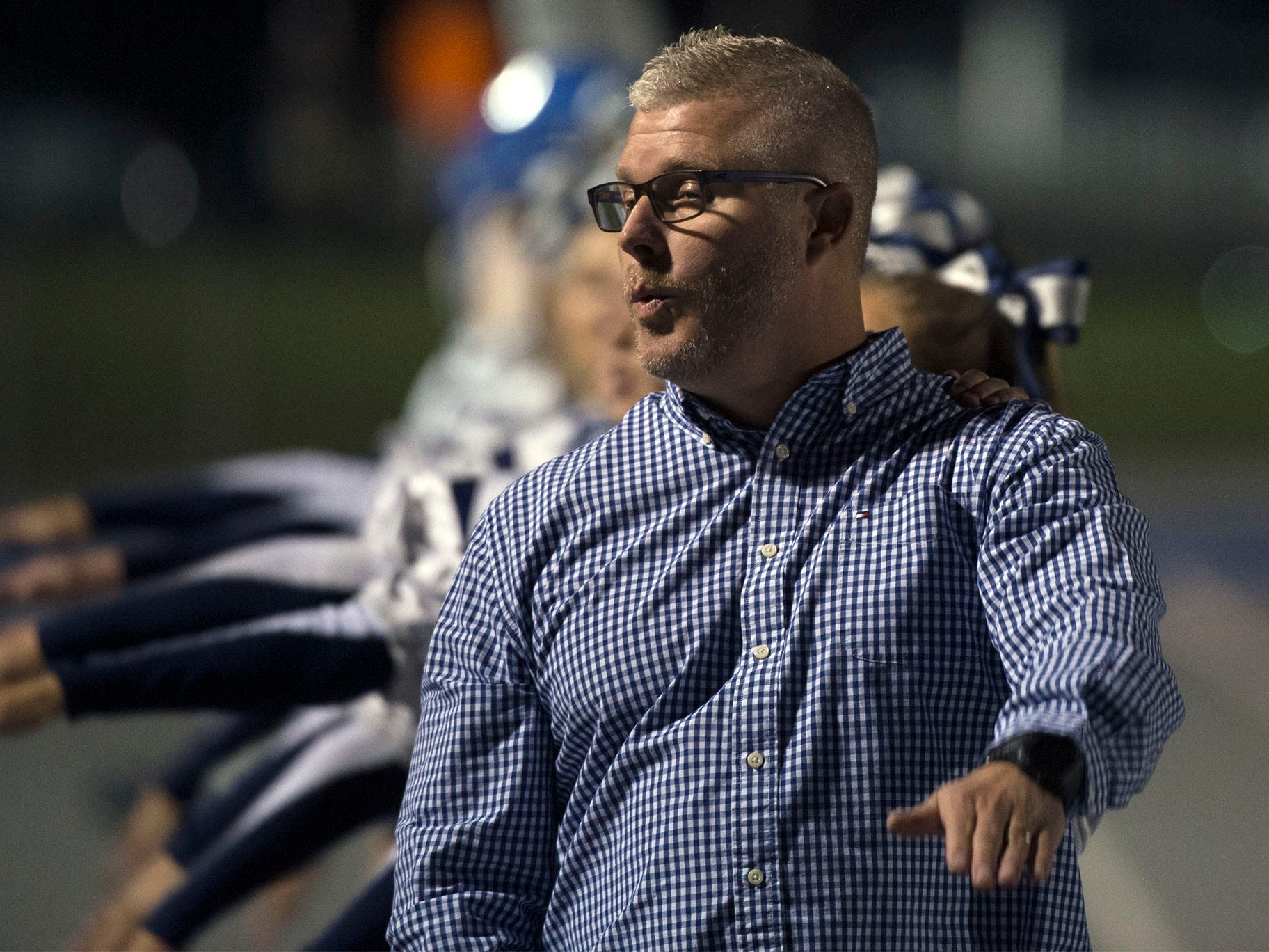Principal Brad Ocker does a cheer for Chambersburg. Chambersburg Trojans are 5-1 after a homecoming victory over Cumberland Valley 28-14 in PIAA football on Friday, Sept. 28, 2018.