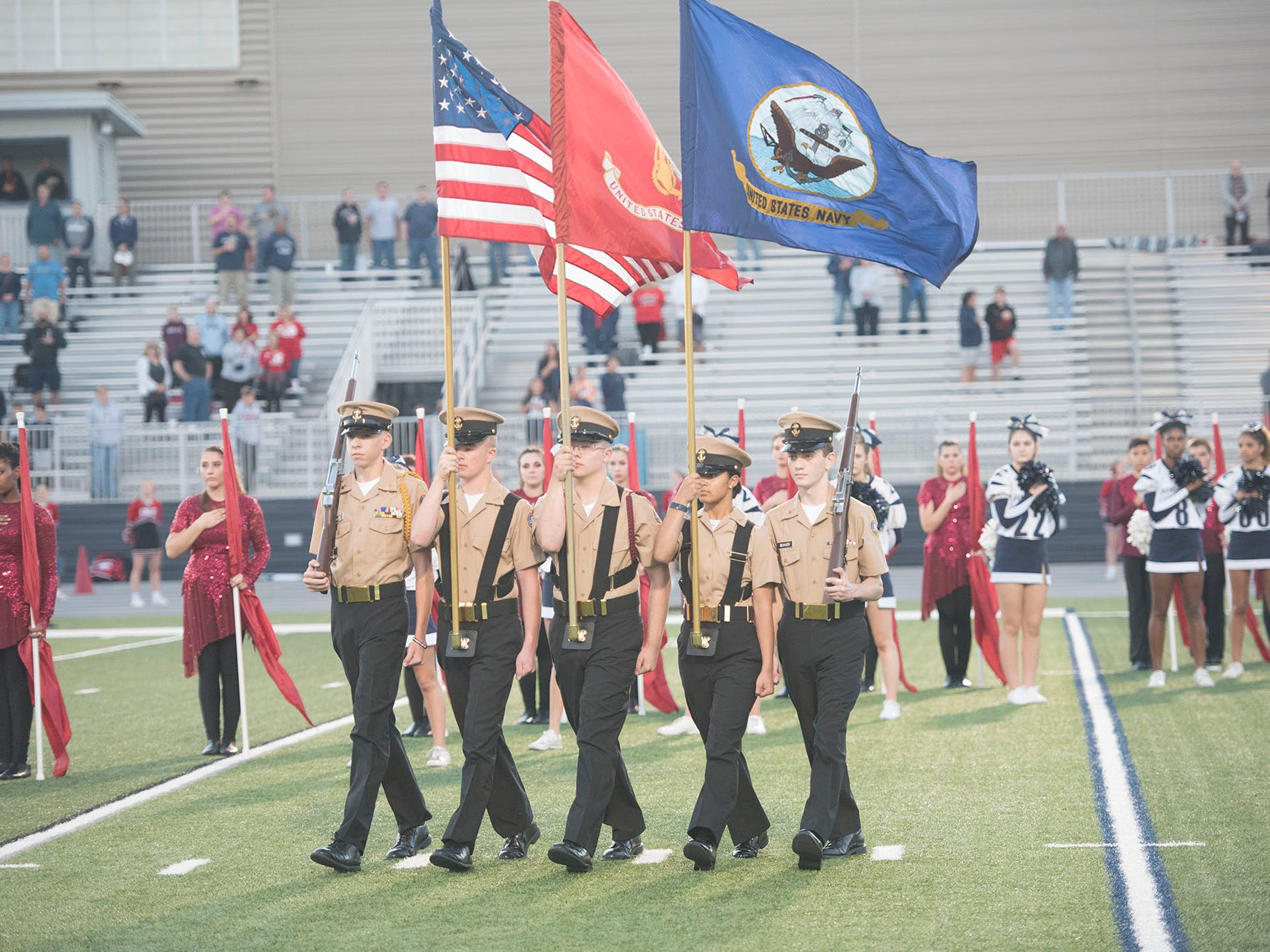 Chambersburg Navy JROTC enter the field. Chambersburg Trojans are 5-1 after a homecoming victory over Cumberland Valley 28-14 in PIAA football on Friday, Sept. 28, 2018.