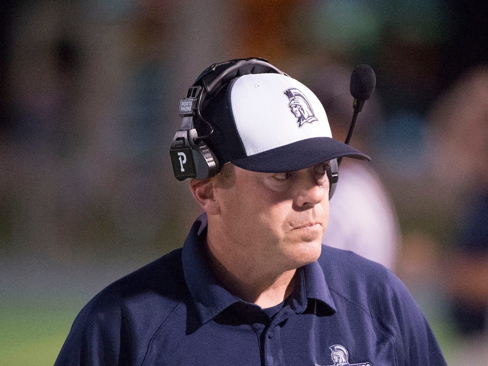 Assistant coach Gary Carter is on the sidelines for the Trojans. Carter was on one of the last Trojans teams to defeat Cumberland Valley High School in football. Chambersburg Trojans are 5-1 after a homecoming victory over Cumberland Valley 28-14 in PIAA football on Friday, Sept. 28, 2018.