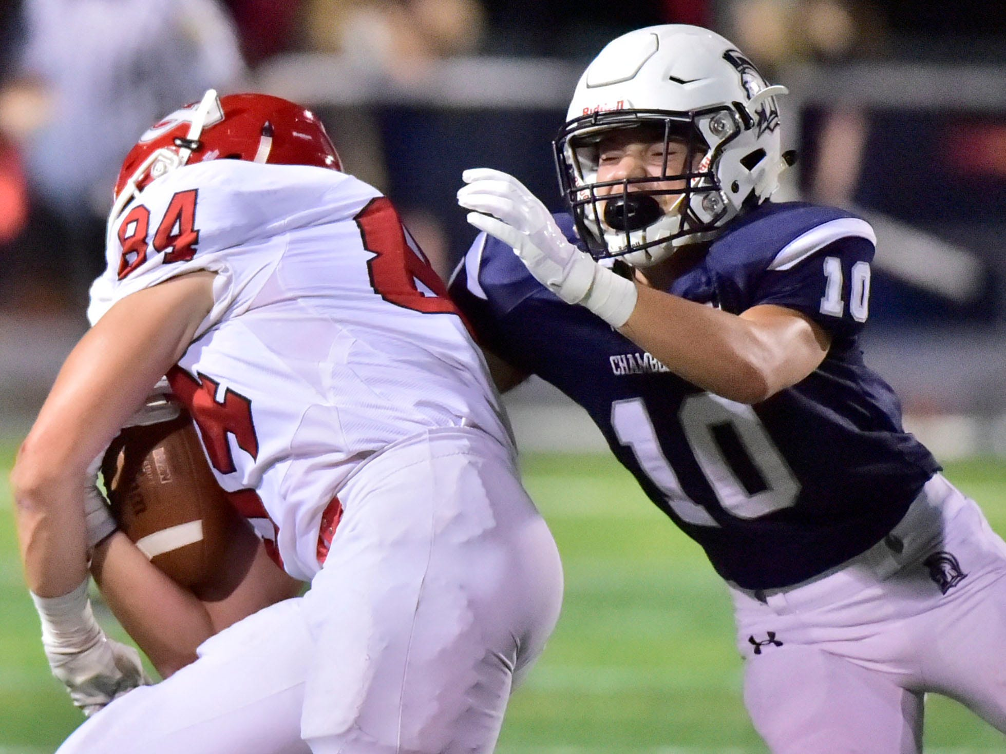 Brady Hughes (10) of Chambersburg tackles Stone Huffman of CV. Chambersburg Trojans are 5-1 after a homecoming victory over Cumberland Valley 28-14 in PIAA football on Friday, Sept. 28, 2018.