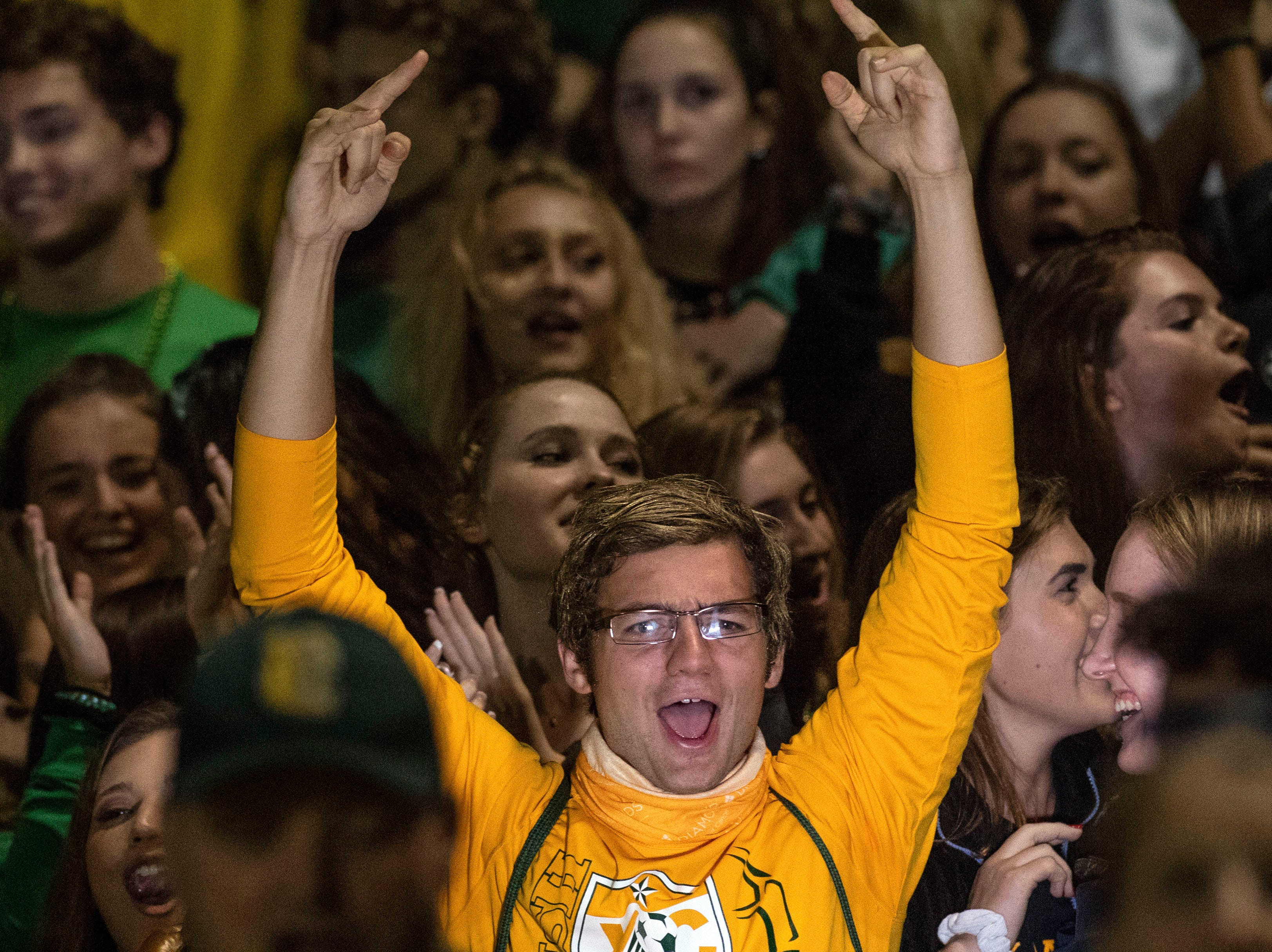 York Catholic students cheer on their team during a Division III football game on September 28, 2018. York Catholic (6-0) beat the Bermudian Springs Eagles (4-2) 10-7, during the Fighting Irish's homecoming.