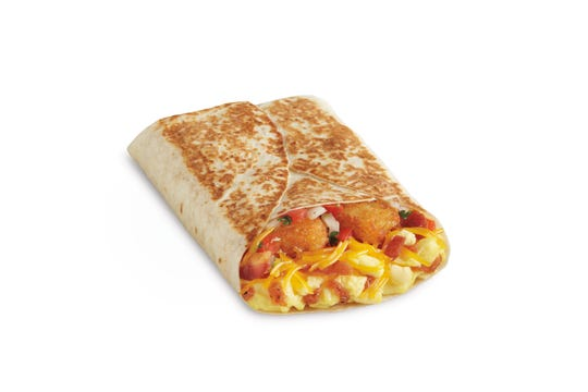 The Breakfast Toasted Wrap now being tested by Del Taco in Northern Nevada features scrambled eggs, cheddar cheese, hasbrown sticks, pico de gallo and salsa casera wrapped in a grilled flour tortilla.