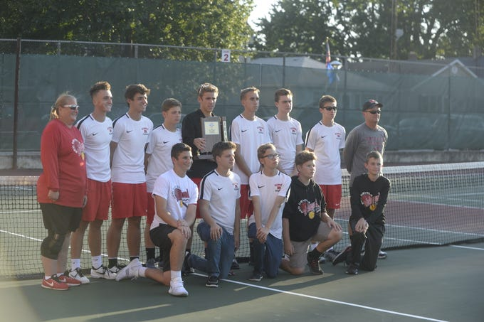The Richmond High School boys tennis team defeated Centerville 5-0 to win a fifth consecutive sectional championship Friday, Sept. 28, 2018.