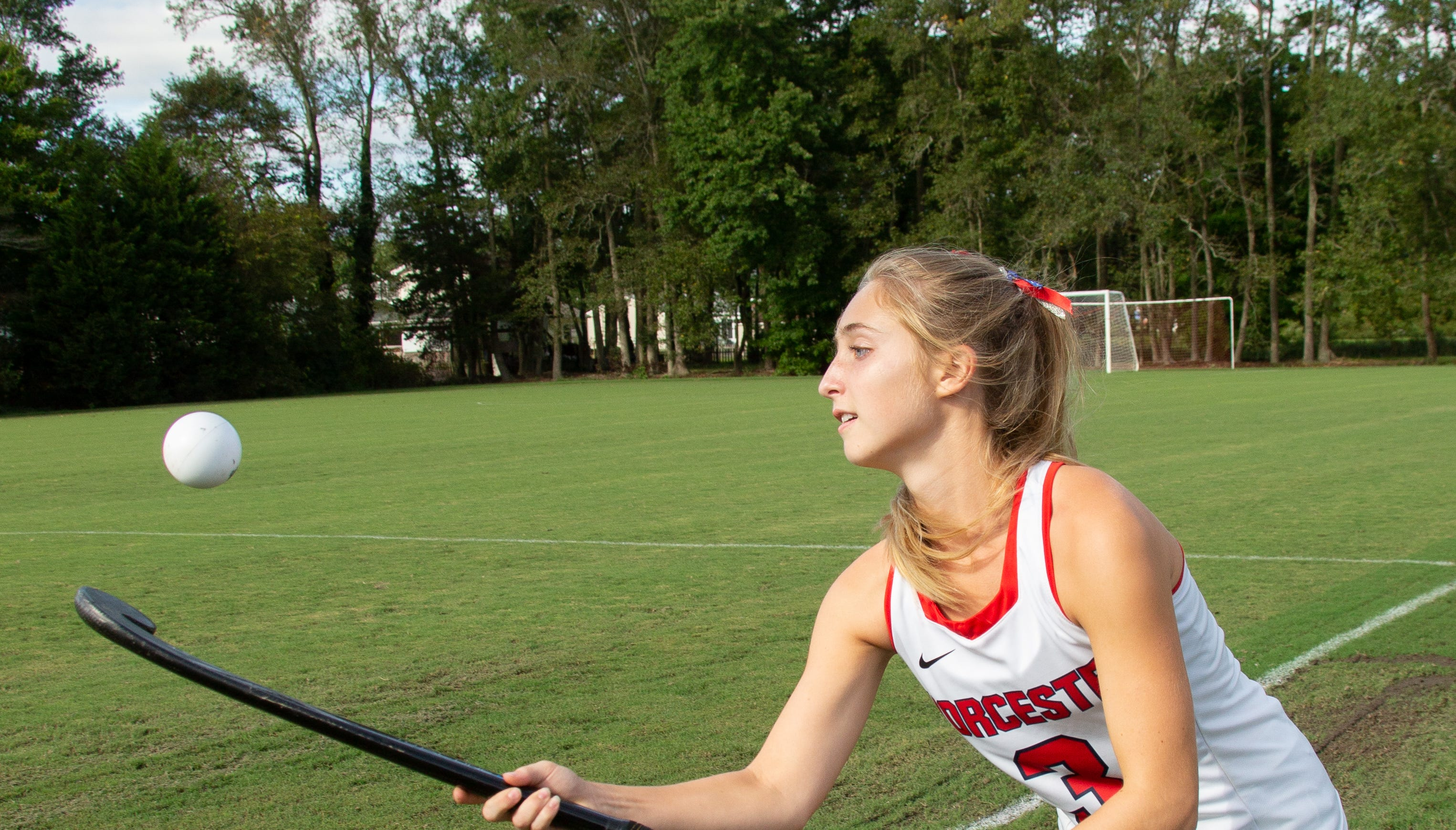 The girls Field Hockey team from Worcester Preparatory School faced off against Bennett High School.  Hailee Arrington #3 is a senior playing for Worcester Preparatory School in Berlin Maryland.