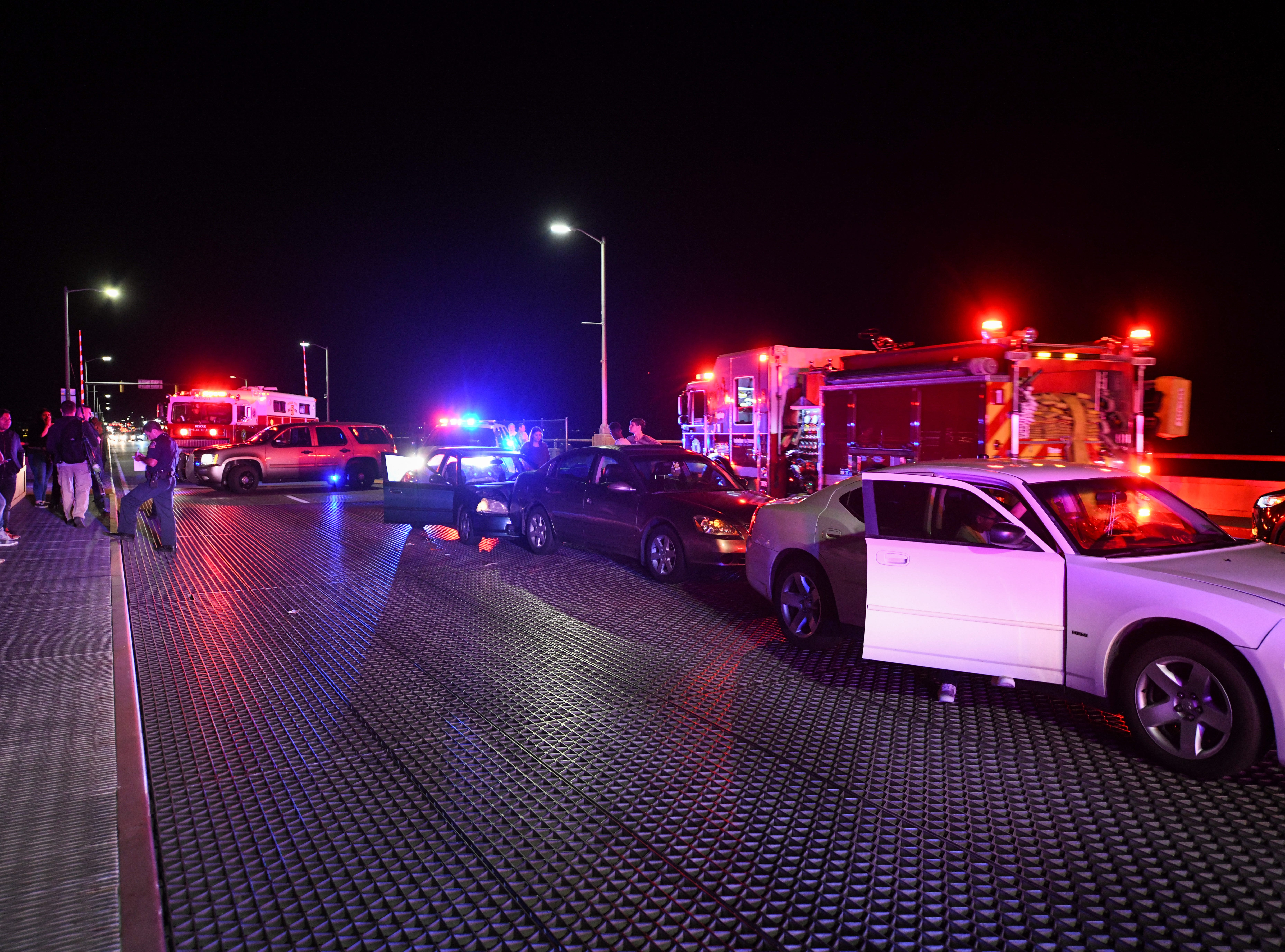 A crash caused injuries and a traffic back-up on the Route 50 bridge into Ocean City on Friday, Sept 28, 2018. Popular car show H2Oi  was traditionally held nearby and though it has now moved to Atlantic City attendees continue to flock to Ocean City.