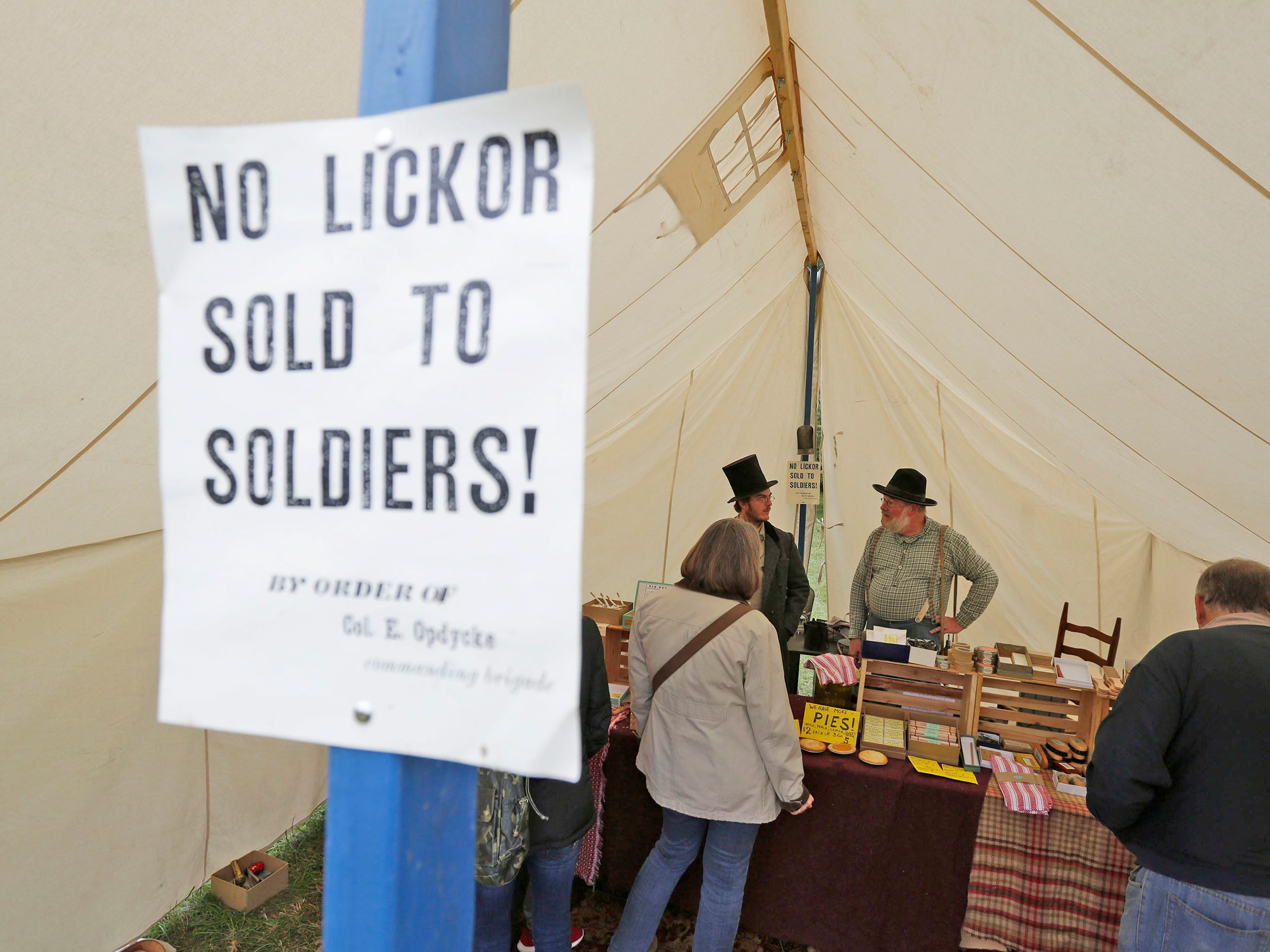 A sign at a shop warns what soldiers should not have during the Civil War Weekend at the Wade House, Saturday September 29, 2018, in Greenbush, Wis.