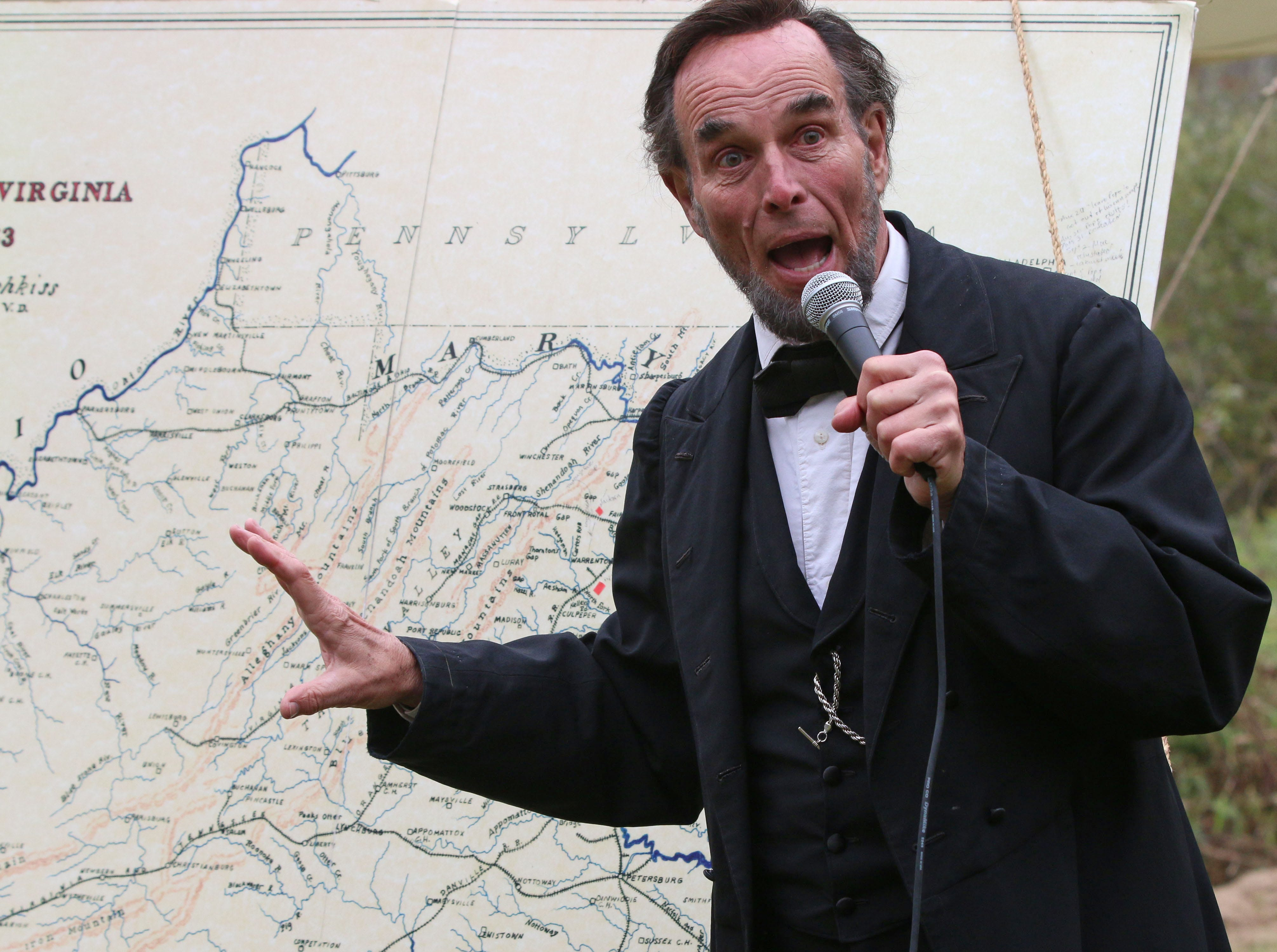 Abraham Lincoln actor Fritz Klein talks about Civil War History during Civil War Weekend at the Wade House, Saturday September 29, 2018, in Greenbush, Wis.