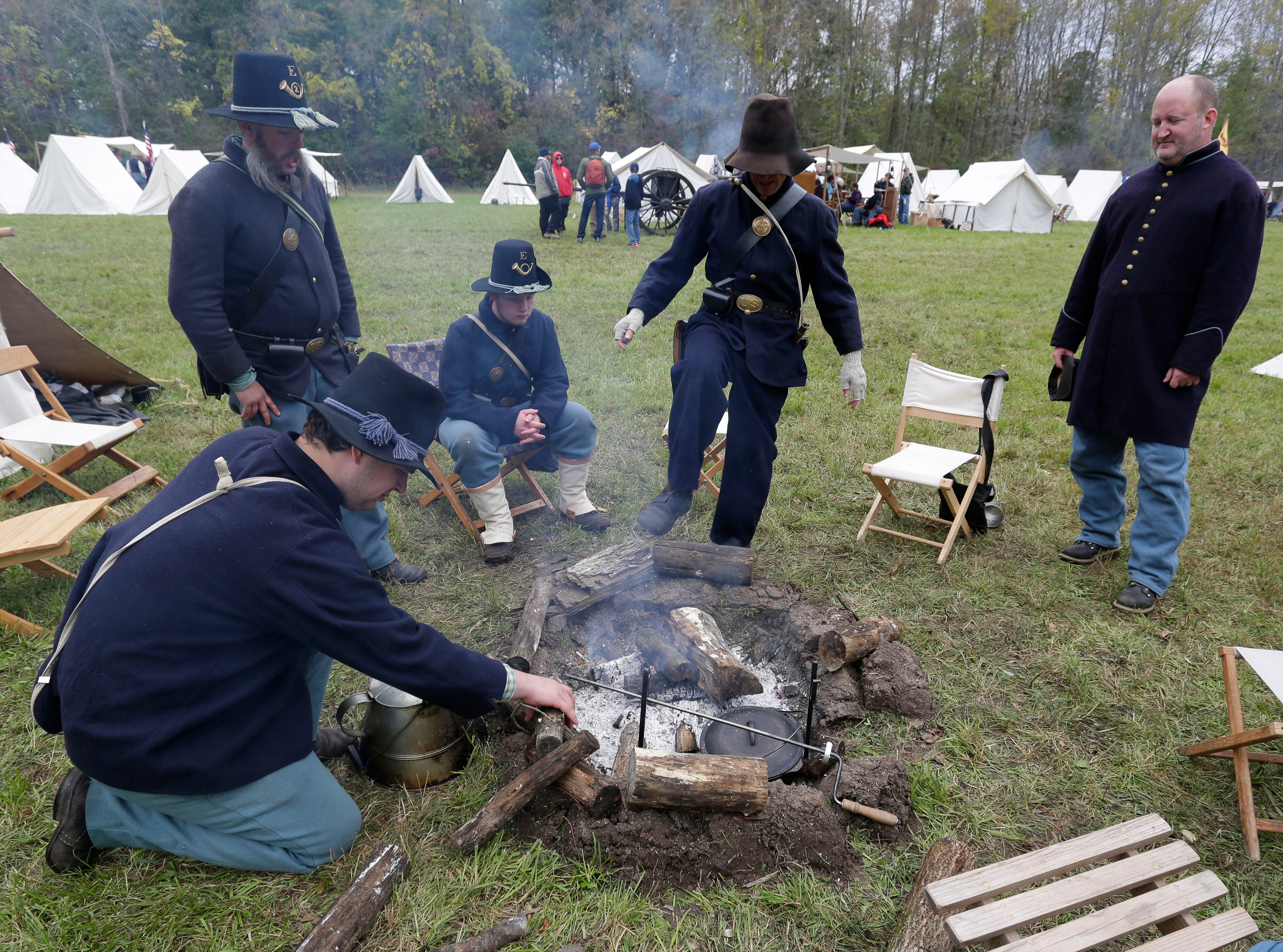 Union soldiers relax around camp during the Civil War Weekend at the Wade House, Saturday September 29, 2018, in Greenbush, Wis.