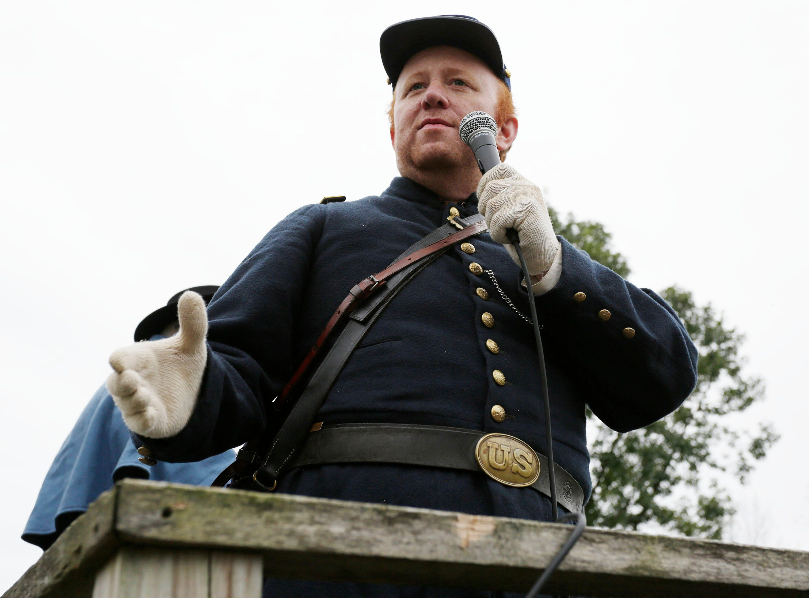 Wisconsin Department of Veterans Affairs curator Kevin Hampton talks to the crowd at the Civil War Weekend at the Wade House before the battle, Saturday September 29, 2018, in Greenbush, Wis.
