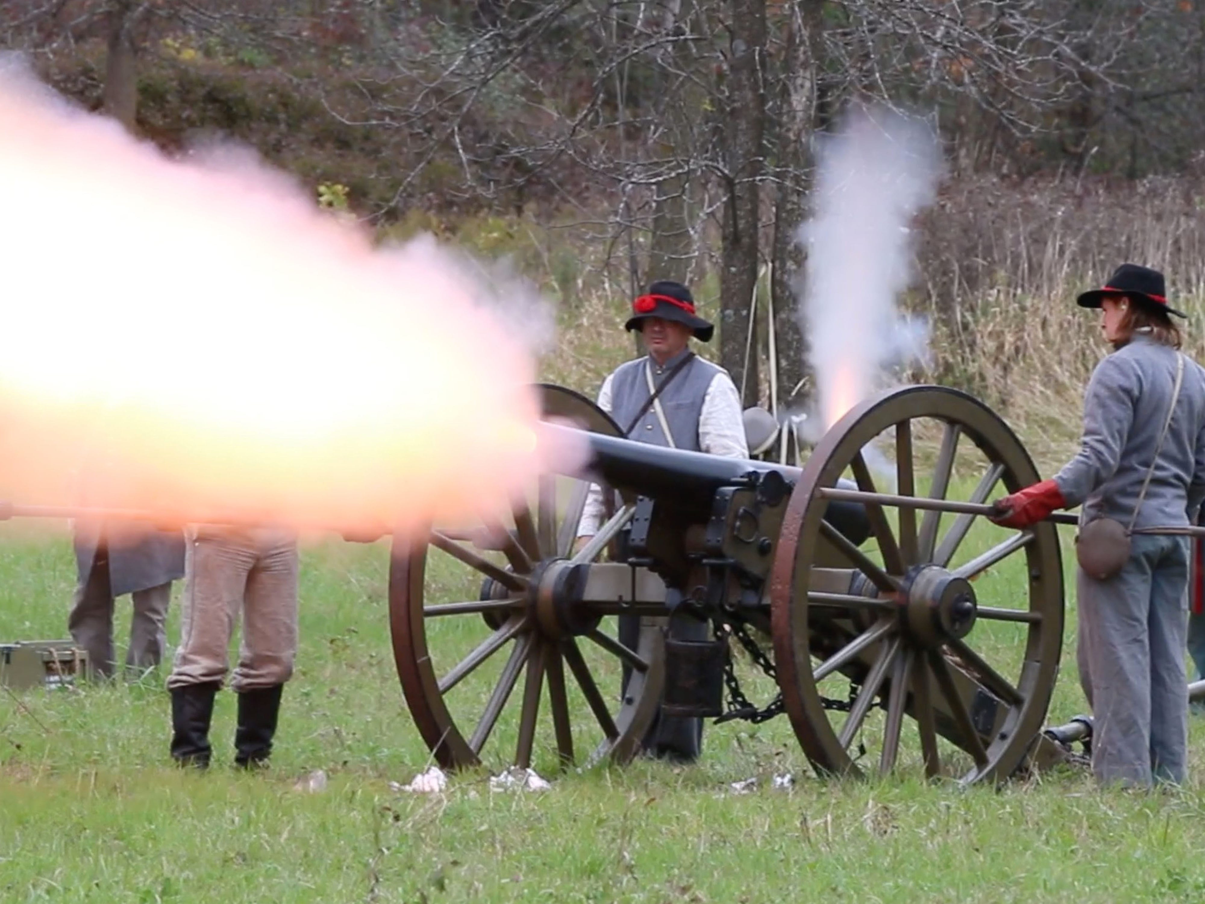 Confederate soldiers fire their cannon during the Civil War Weekend at the Wade House, Saturday September 29, 2018, in Greenbush, Wis.